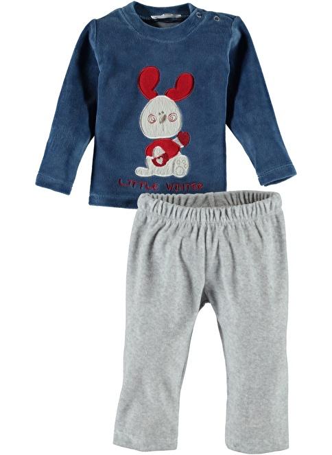 Locopop Kadife Pijama Takım Gri